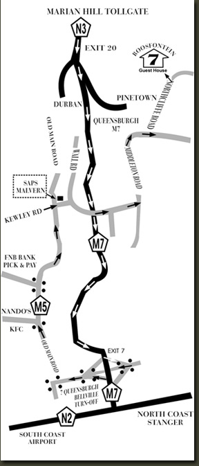 Map with directions to Roosfontein